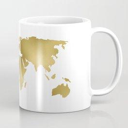 Gold Foil Map - Metallic Globe Design Coffee Mug