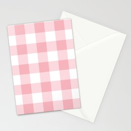 Coral Gingham Pattern Stationery Cards