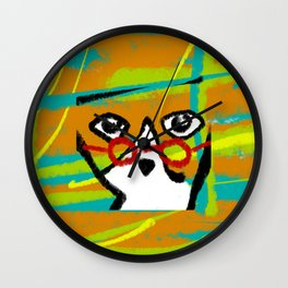 Red glasses cat Wall Clock
