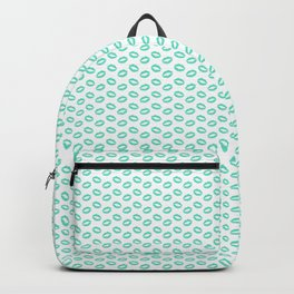 Aqua Blue Lipstick Kisses on White Backpack