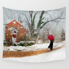 The Winter Cottage Wall Tapestry