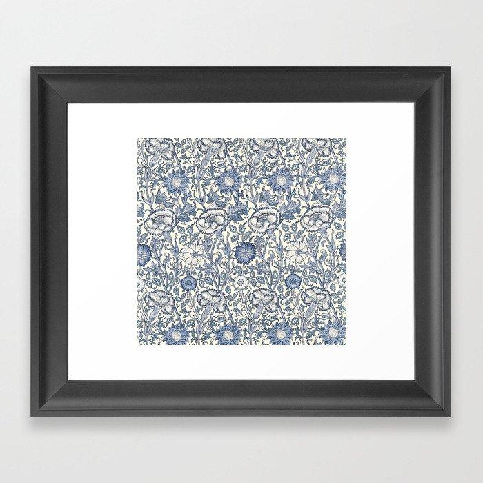 William Morris Navy Blue Botanical Pattern 6 Gerahmter Kunstdruck