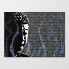 Typographic Fine Art Print Illustration Poster Stencil Graffiti: Buddha quotes and inscens smoke  Canvas Print