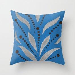 Silver Leafs – Blue Bell – Scandinavian Folk Art Throw Pillow
