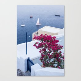 Santorini, Greece all Blue and White Canvas Print