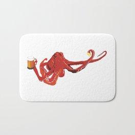 Red octopus beer lover Bath Mat