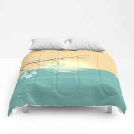 Delicate Asian Inspired Image of Pastel Sky and Lake with Silver Leaves on Branch Comforters