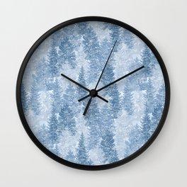 Blue Winter Conifer Forest Watercolor Pattern Wall Clock