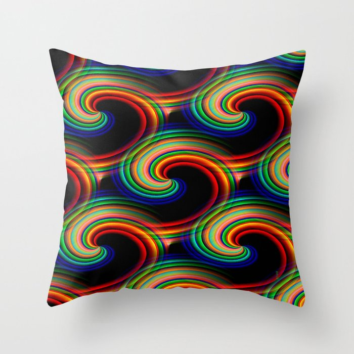 Swirling waves of colors... Throw Pillow