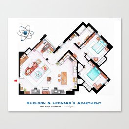 Sheldon and Leonard's apartment floorplan from TBBT Canvas Print