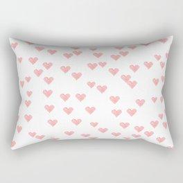 Cute romantic blush pink hand painted watercolor hearts Rectangular Pillow