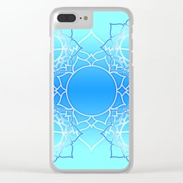 Lotus Mandala (Blue) Clear iPhone Case