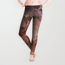 Abstract brown glamour glitter circles and dots for Girls and ladies Leggings