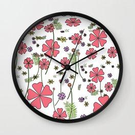 Floral Polka Wall Clock