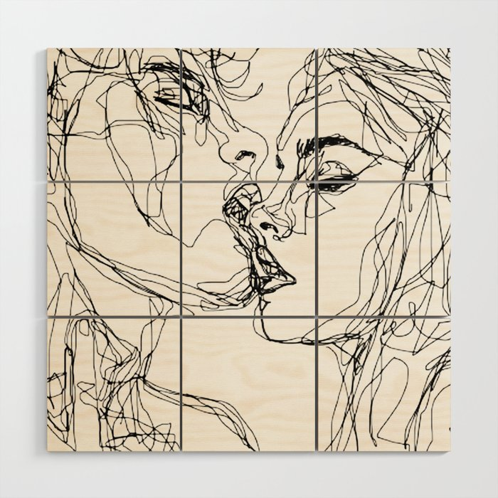 kiss more often (B & W) Wood Wall Art