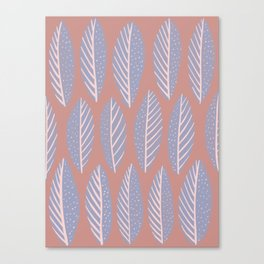 Gray and Pink Leaves Pattern Canvas Print
