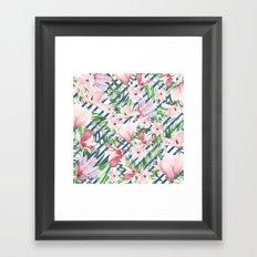 Modern blue white stripes blush pink green watercolor floral Framed Art Print