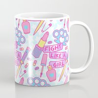 patriarchy Mugs featuring Girl Fighter by Jade Boylan