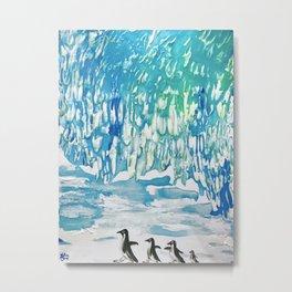 Penguin Family on Thin Ice Metal Print