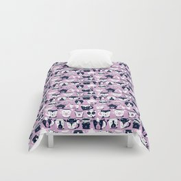 Cuddly Tea Time // white navy & light orchid pink animal mugs Comforters