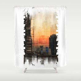 IN A CITY Shower Curtain