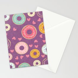 hearts and donuts purple Stationery Cards