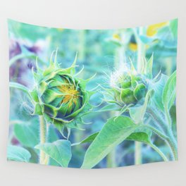 sunflower - turquoise Wall Tapestry