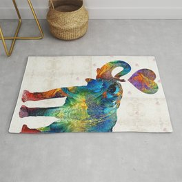 Colorful Elephant Art - Elovephant - By Sharon Cummings Rug