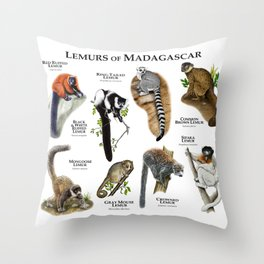 Lemurs of Madagascar Throw Pillow