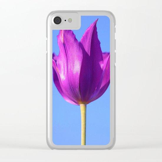 purple tulip Clear iPhone Case