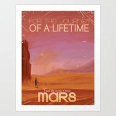 Mars vintage travel poster Art Print