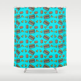 fast food blue Shower Curtain
