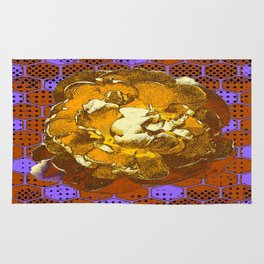 Honey-Coffee Colored Wood Rose & Honey Comb Lilac Art Pattern Rug