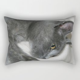 Close Up Portrait Of A Relaxed Grey Cat  Rectangular Pillow