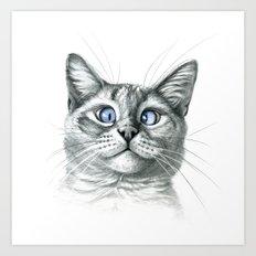 Cross Eyed cat G122 Art Print