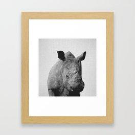 Rhino - Black & White Framed Art Print