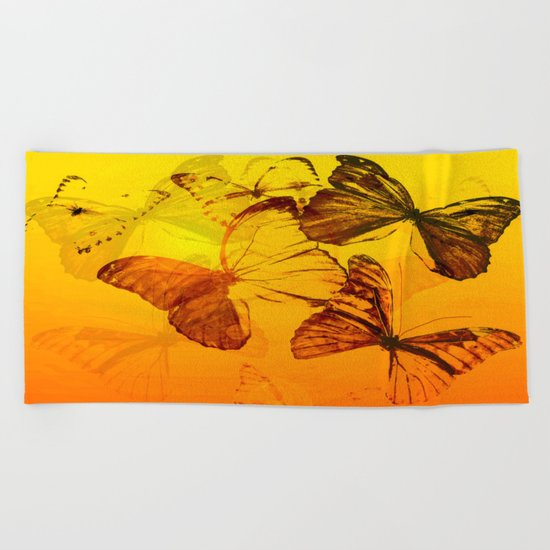 Lovely butterflies in sunset color - summer beauties on orange background Beach Towel