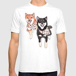 Two Shiba Inu with Bandana T-shirt