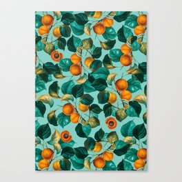 Peach and Leaf Pattern Canvas Print