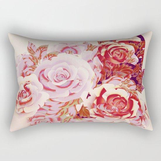 composition florale en rose Rectangular Pillow