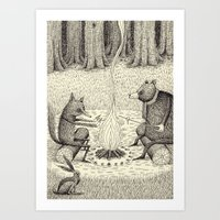 camp Art Prints featuring 'Camp Fire' by Alex G Griffiths