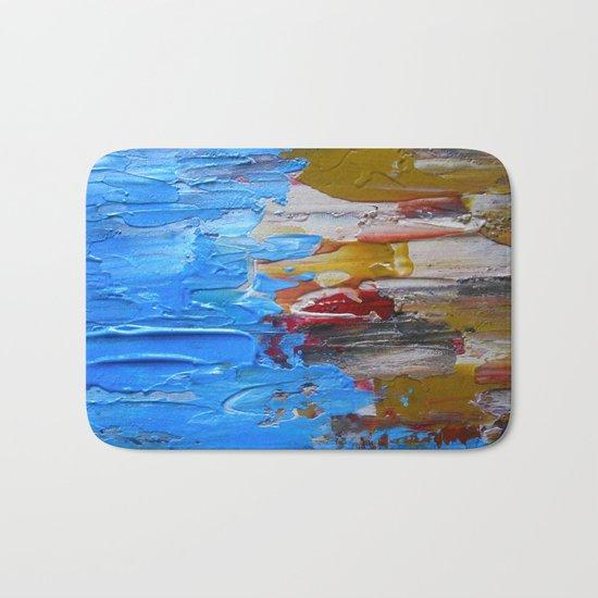 Beach Tide Acrylics On Stretched Canvas Bath Mat