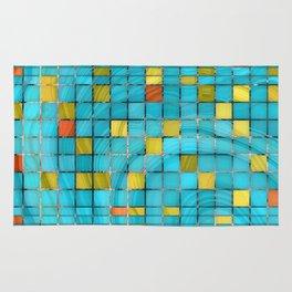 Block Aqua Blue and Yellow Art - Block Party 2 - Sharon Cummings Rug