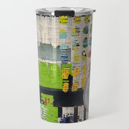 Lime & Navy Abstract Art Collage Travel Mug