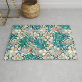 Muted Moroccan Mosaic Tiles with Palm Leaves Rug