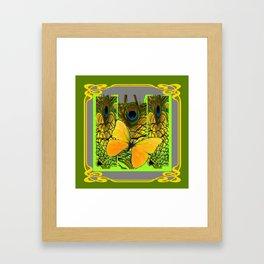 GREEN ART NOUVEAU BUTTERFLY PEACOCK PATTERNS Framed Art Print