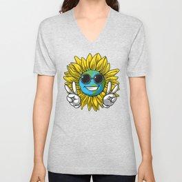 Planet Earth Sunflower Hippie Unisex V-Neck