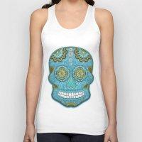 sugar skull Tank Tops featuring sugar skull by Ancello