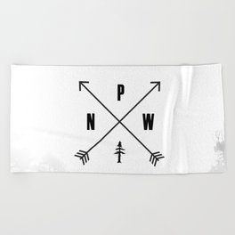 PNW Pacific Northwest Compass - Black and White Forest Beach Towel
