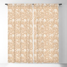 Dinosaur Fossils on Taupe Blackout Curtain